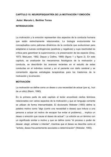 CAPÍTULO 15: NEUROPSIQUIATRÍA DE LA MOTIVACIÓN Y ...