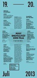 TAGUNG PosT DIgITalITäT UND FIlM - Universität Hamburg