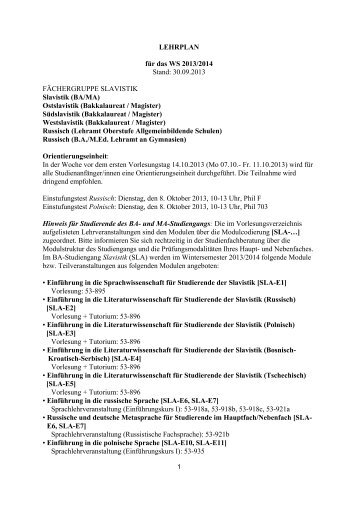 LEHRPLAN für das WS 2013/2014 Stand: 30.09.2013 ...