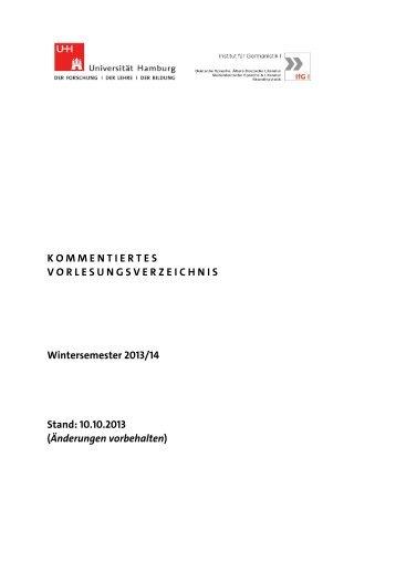 Kommentiertes Vorlesungsverzeichnis Winter ... - Departments SLM