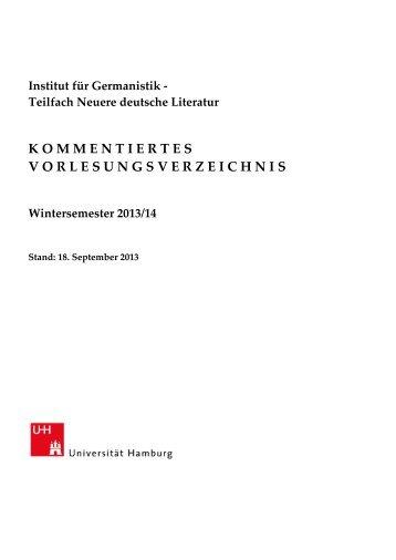 Kommentiertes Vorlesungsverzeichnis - SLM - Universität Hamburg