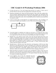 UBC Grade 8–10 Workshop Problems 2006