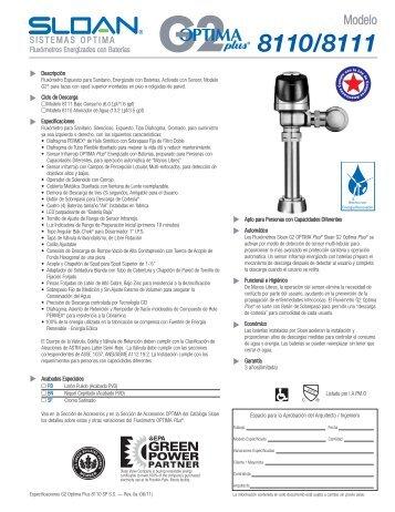 G2 Optima Plus 8110 y 8111 Especificaciones Español