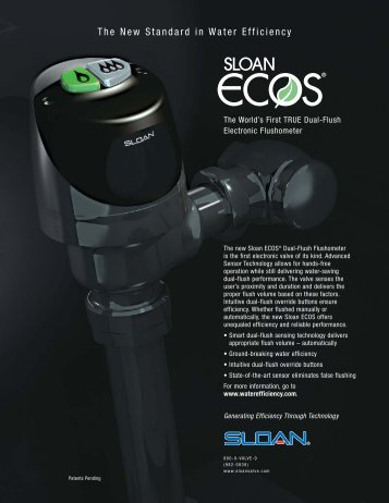 Sloan ECOS | The World's First TRUE Dual Flush Electronic ...
