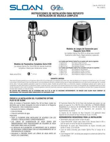 Instrucciones de Instalación: G2 Optima Plus - Sloan Valve Company