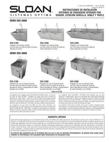 Fregaderos Optima ESS-2000/3000 - Sloan Valve Company