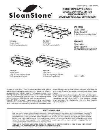 SloanStone EW-40000 Series - Sloan Valve Company