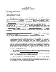 PAYMENT LETTER OF CREDIT - County of San Luis Obispo