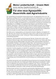 Forderungspapier der Kampagne - Meine Landwirtschaft