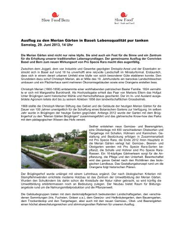 Ausflug zu den Merian Gärten in Basel ... - Slow Food Bern