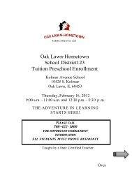 Oak Lawn-Hometown School District123 Tuition Preschool Enrollment