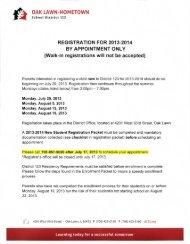 Registration Packet PreK - Oak Lawn-Hometown School District 123