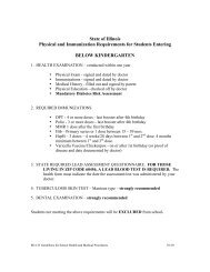 State of Illinois Physical and Immunization Requirements for ...