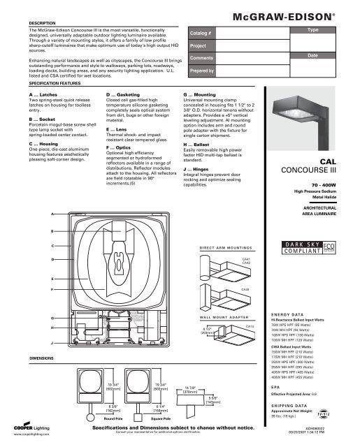 Cutsheet Specified Lighting