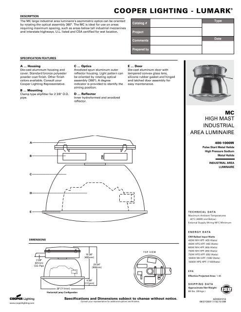 Cutsheet Specified Lighting Systems