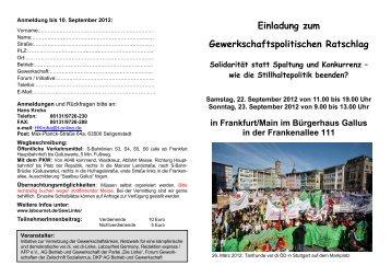 Einladung zum Gewerkschaftspolitischen ... - Labournet Germany