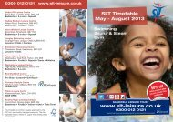 View the latest main timetable - Sandwell Leisure Trust