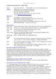 Condensed Curriculum Vitae – Roger Finlay Name: Roger ... - SLU