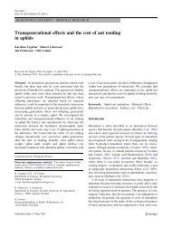 Transgenerational effects and the cost of ant tending in aphids - SLU