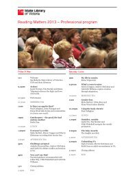 Professional program schedule – PDF - State Library of Victoria
