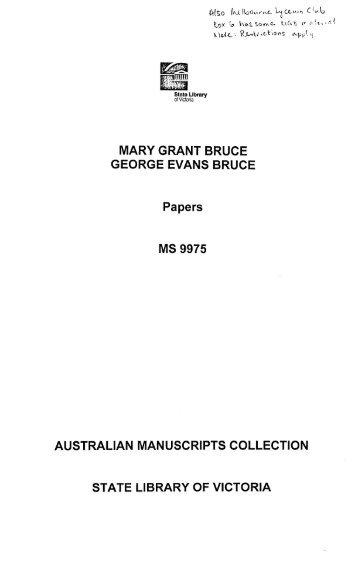 View a Descriptive List [PDF, 8.2 mb] - State Library of Victoria
