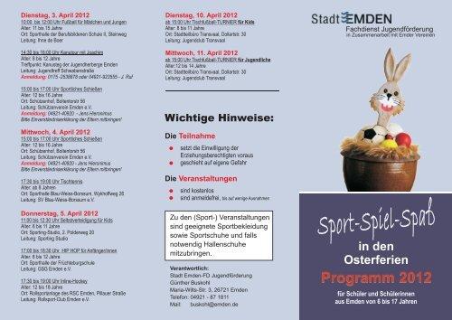 in den Osterferien Programm 2012 - Stadt Emden