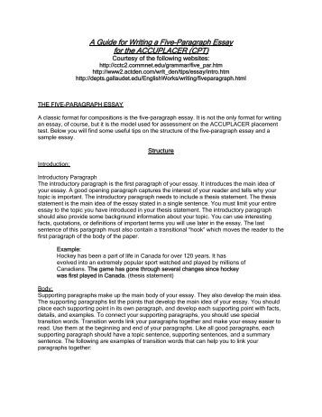 Six paragraph essay outline