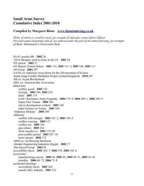 Small Arms Survey Cumulative Index 2001-2010