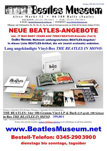 Beatles Museum - Katalog 40 mit Hyperlinks