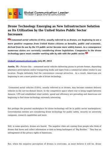 Drone Technology Emerging as New Infrastructure Solution as Its Utilization by the United States Public Sector Increases