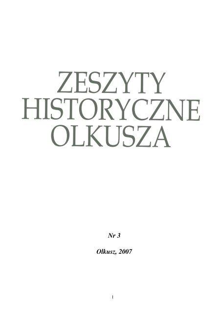 Zeszyty Historyczne Olkusza Numer 3 Olkusz 2007