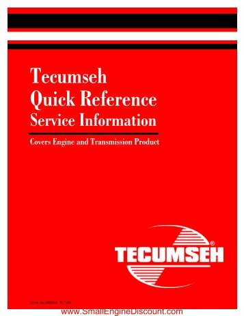 Tecumseh Quick Reference - Small Engine Discount