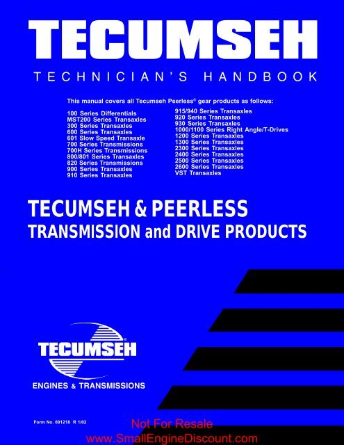 Tecumseh Peerless Handbook Small Engine Discount