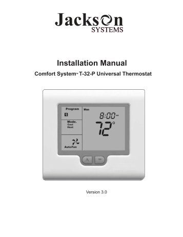 T-32-P Installation Manual fo... - Jackson Systems