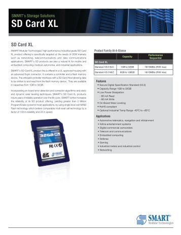 SD Card XL Product Overview - Smart Modular Technologies, Inc.