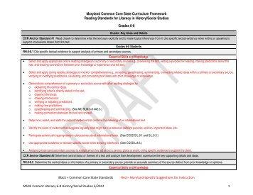 Maryland Common Core State Curriculum Framework ... - mdk12