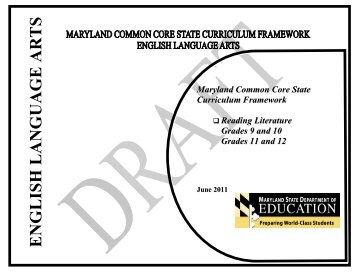 Maryland common core state curriculum framework reading ... - mdk12