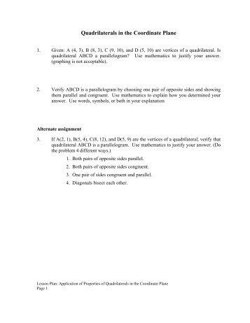 Quadrilaterals in the Coordinate Plane - mdk12