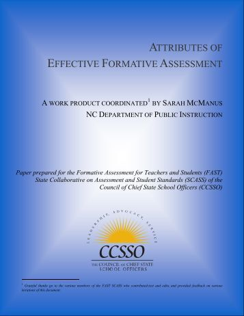 Attributes of Effective Formative Assessment - Public Schools of ...