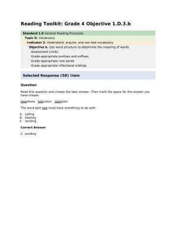 Reading grade 4 1.D.3.b - mdk12