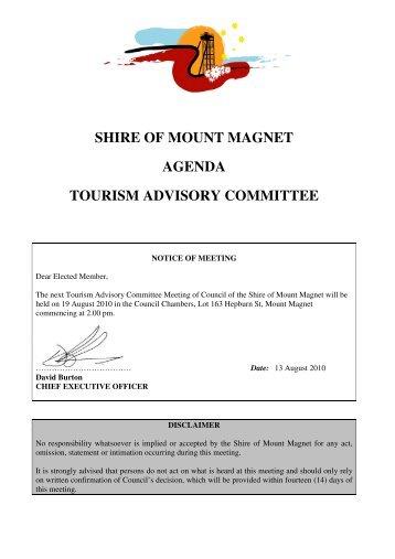 Agenda Tourism Advisory Committee - 19 August 2010