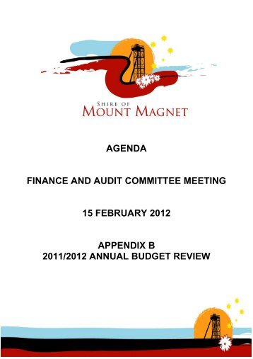 Appendix B – Finance & Audit - 15 February 2012 - Shire Of Mount ...