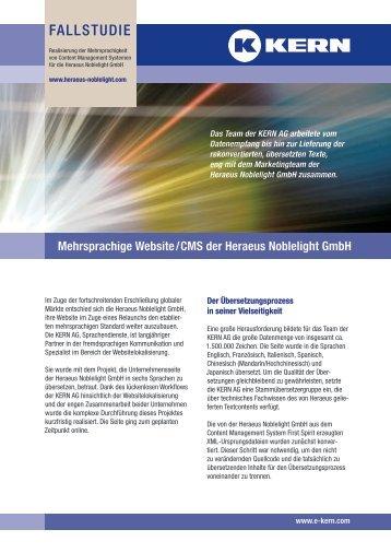 Mehrsprachige Website/CMS der Heraeus Noblelight GmbH - Kern