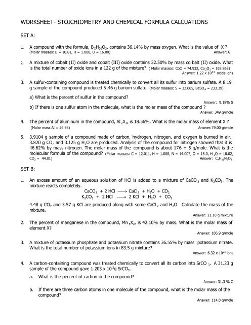 worksheet- stoichiometry and chemical formula