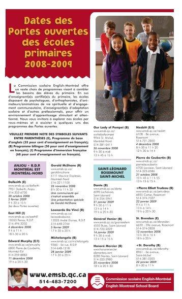 Dates des Portes ouvertes des écoles primaires 2008-2009 Dates ...