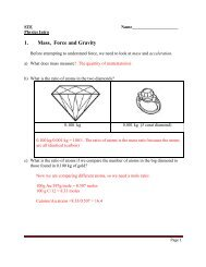 1. Mass, Force and Gravity