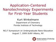 Application-Centered Nanotechnology Experiments for First ... - NCLT