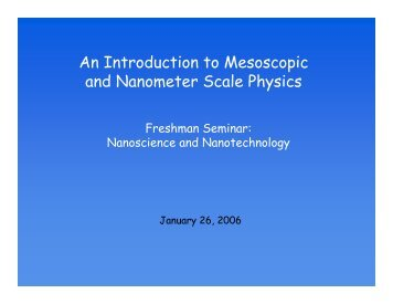 An Introduction to Mesoscopic and Nanometer Scale Physics (PDF)