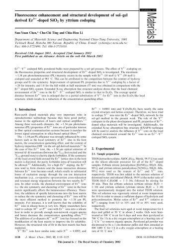 doped SiO2 by yttrium codoping