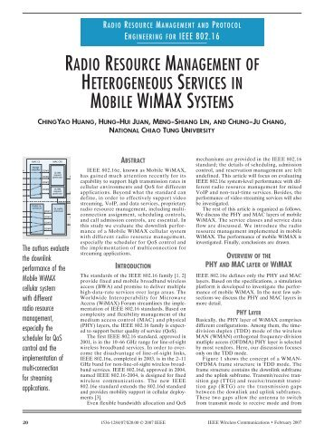 Radio resource management of heterogeneous services in mobile